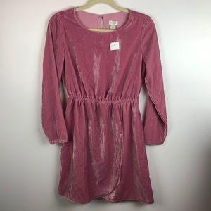 J Crew Pink Velvet Tulip Hem Long Sleeve Dress 2